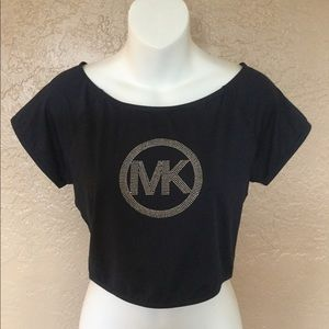 Michael Kors Navy Blue Logo Crop Top L